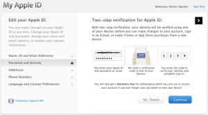 Apple ID 2 wege authentifizierung