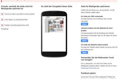 Die Seite ist nicht für mobile Darstellung geeignet