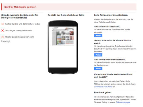 Test: Die Seite ist nicht für mobile Darstellung geeignet