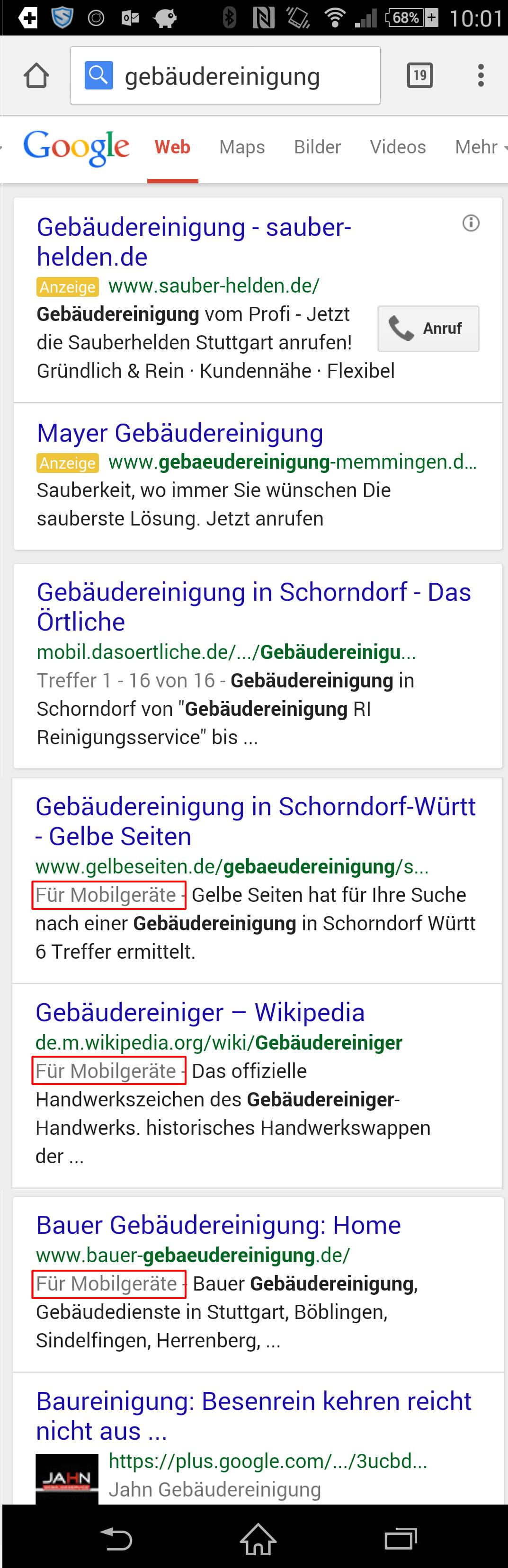 Mobiles Suchergebnis nach dem 21. April 2015