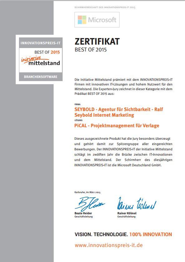 Zertifikat - Branchensoftware Best of - Innovationspreis IT 2015 - PiCal - Projektmanagement für Verlage