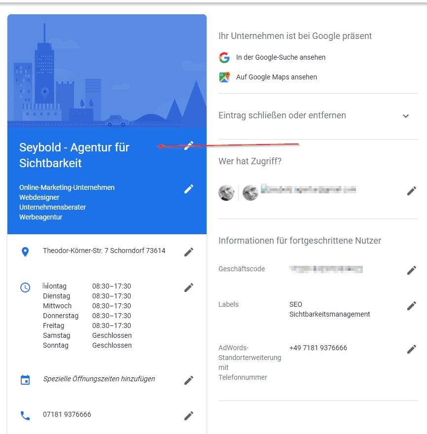 Unternehmensdaten bei Google, Beispiel Seybold - Agentur für Sichtbarkeit