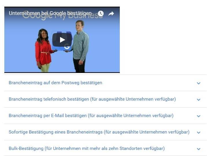 Unternehmen bei Google bestätigen