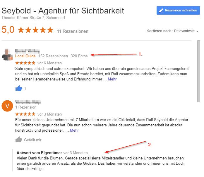 Bewertungen auf Google, Beispiel Seybold - Agentur für Sichtbarkeit