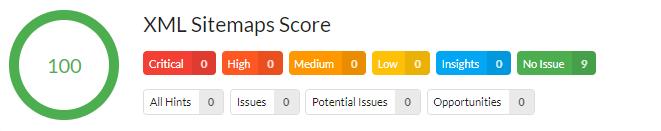XML Sitemaps Score - Analyse Beispiel