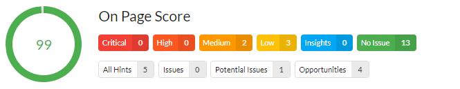 OnPage Score Score - Analyse Beispiel