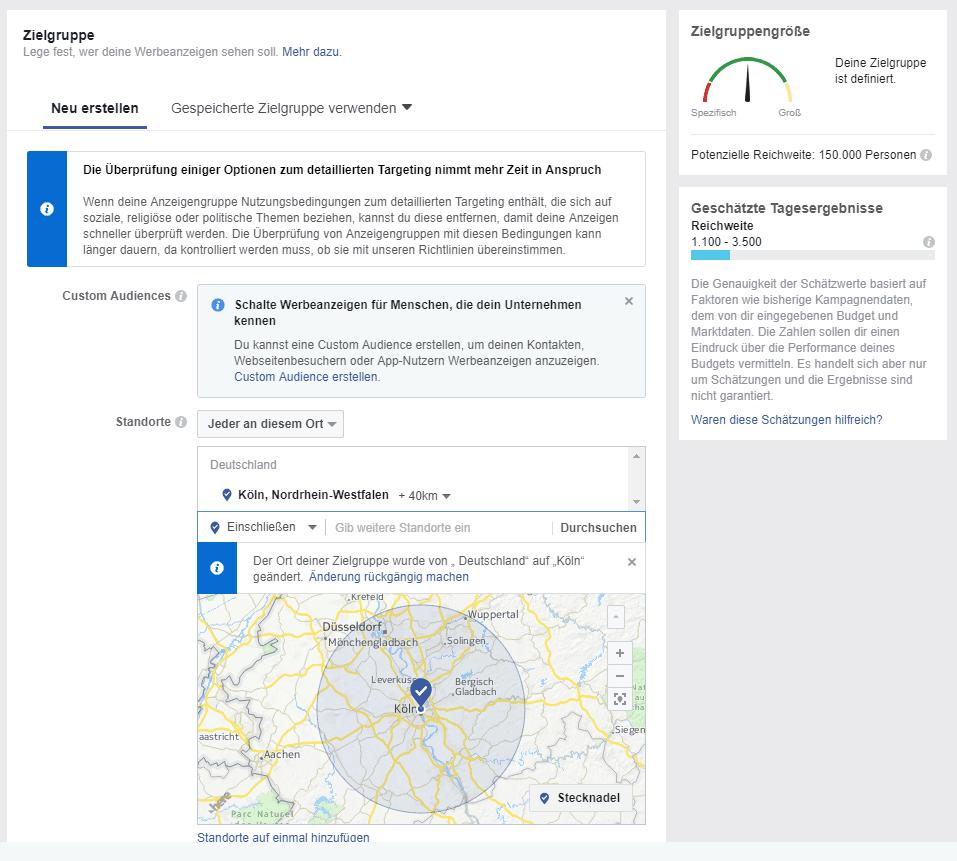 Facebook Anzeige - Zielgruppenauswahl Brautmoden Beispiel