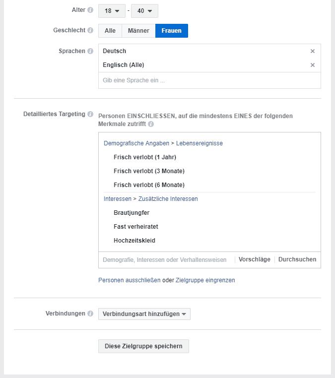 Beispiel: Facebook-Anzeige - Interessenwahl