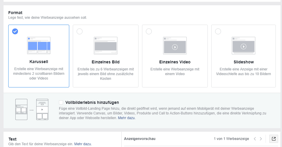Beispiel: Facebook-Anzeige - Mögliche Formen