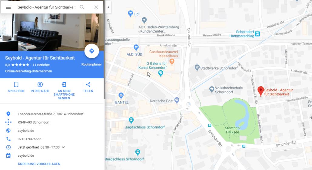 Google Maps - So präsentiert sich SEYBOLD Agentur für Sichtbarkeit auf Google Maps