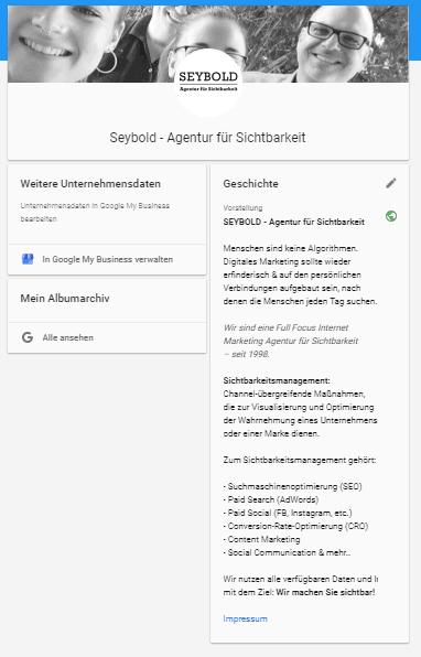 Seybold - Agentur für Sichtbarkeit bei Google+