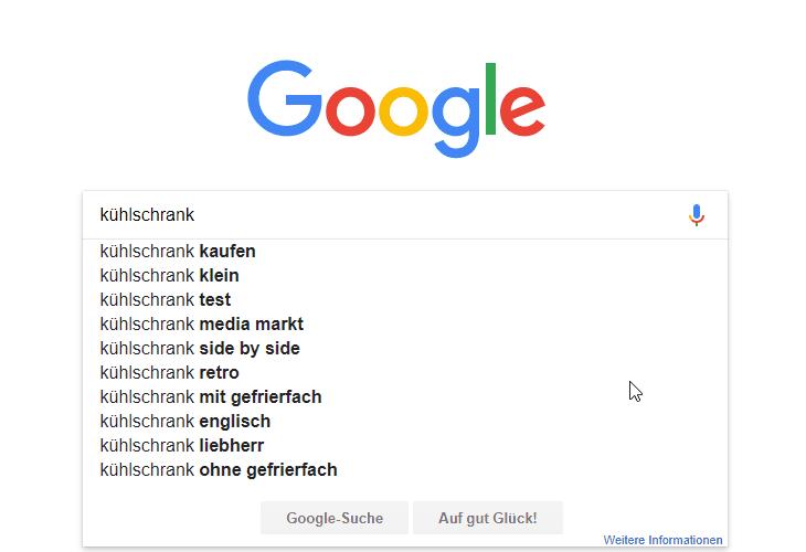 früheres Suchverhalten in Google
