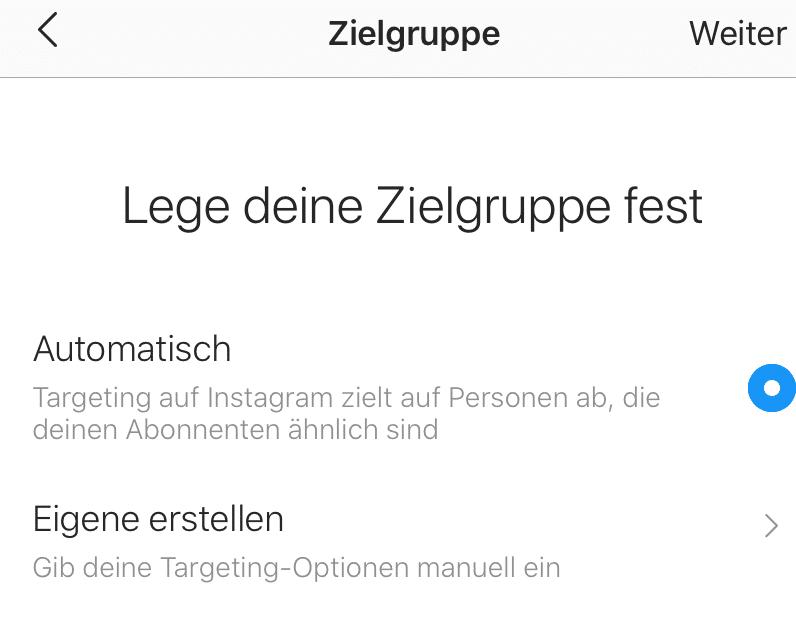 Zielgruppe festlegen - Instagram