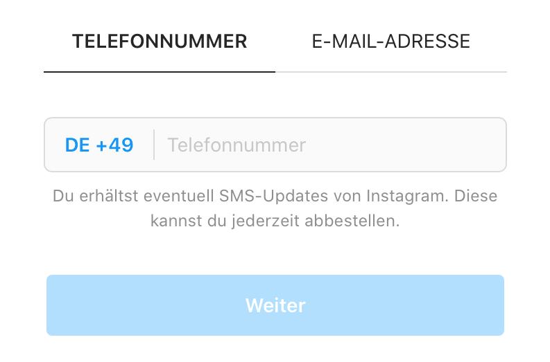 Anmeldung/Registrierung per Instagram - Telefonnummer