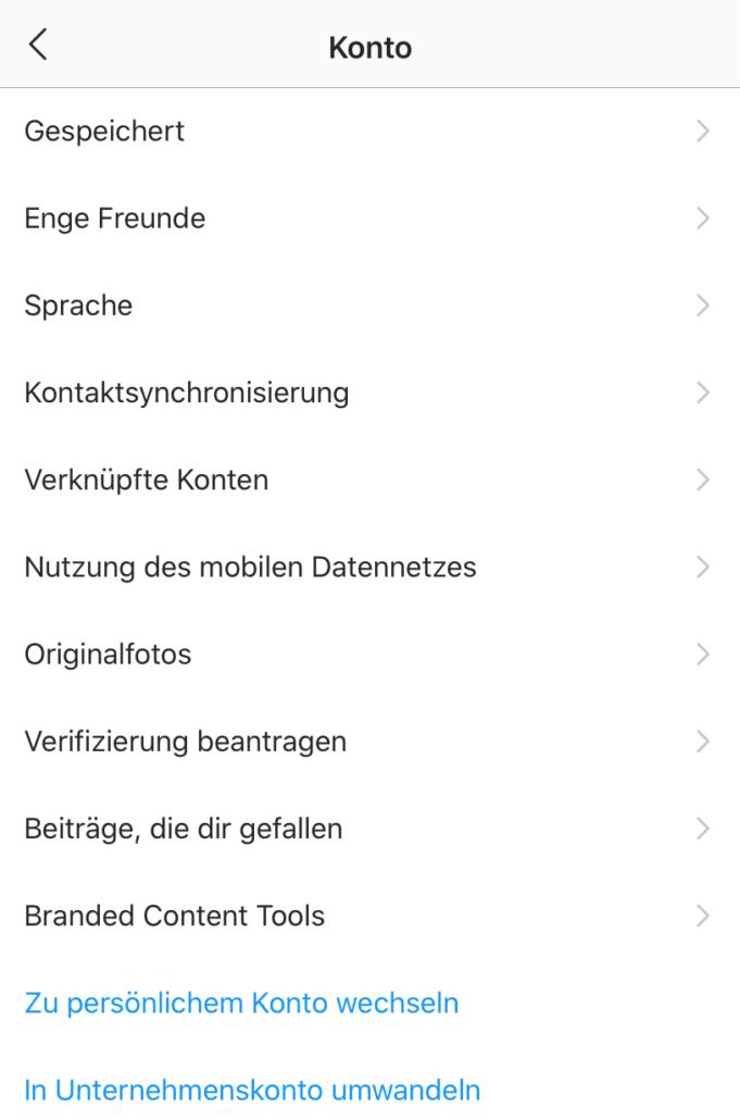 Kontoeinstellungen von Instagram _ Umstellung zum Unternehmenskonto