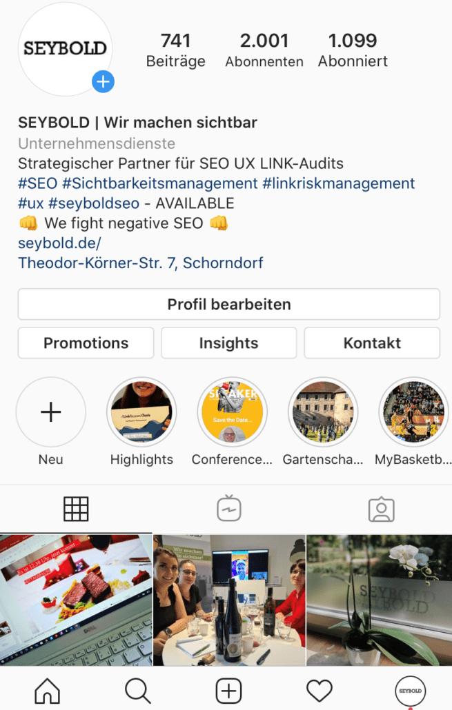 Instagram Account - Unternehmensprofil