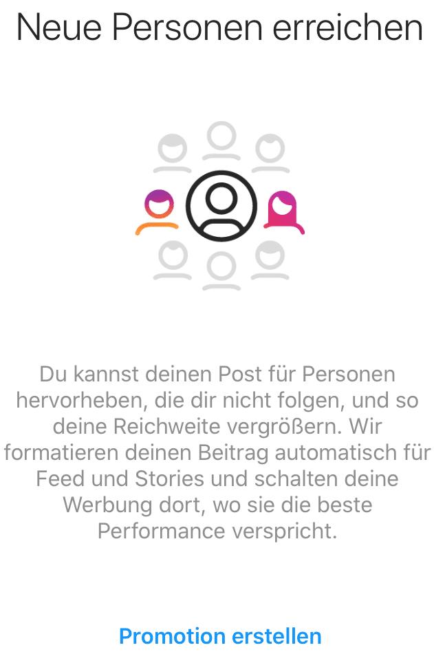 Promotion erstellen - Instagram
