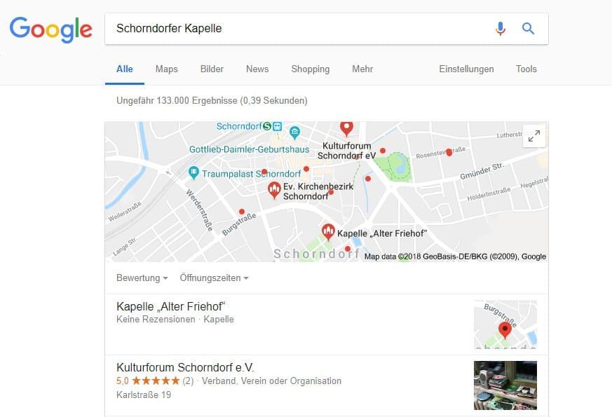 Die Schorndorfer Kapelle auf Google finden