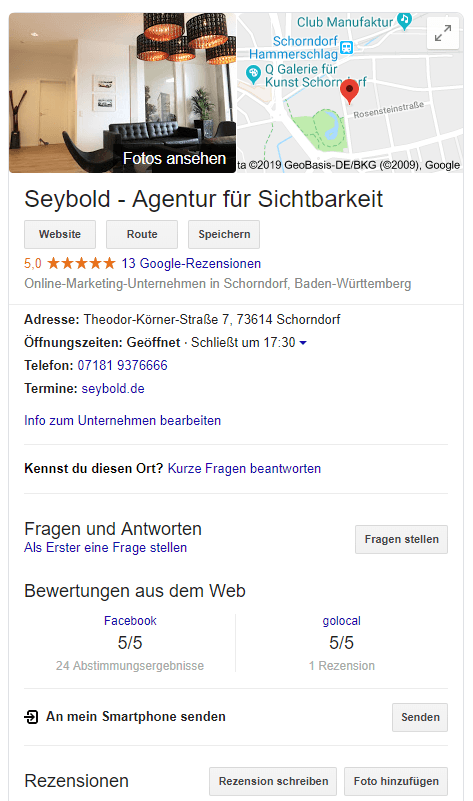 SEYBOLD Knowledge Panel bei Google