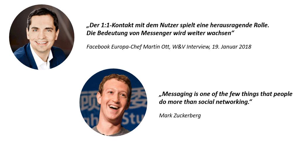 1:1 Kontakt Zitat von Martin Ott, Messaging-Zitat von Mark Zuckerberg