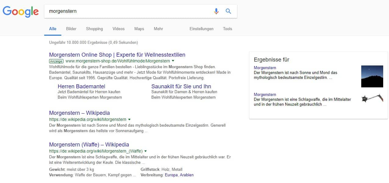 Morgenstern in der Googlesuche
