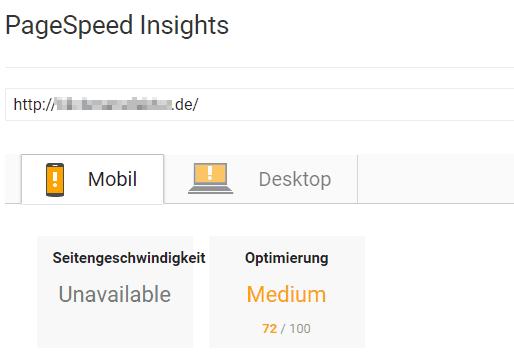Page Speed Insights - Anzeige von schlechter Ladezeit für Webseiten