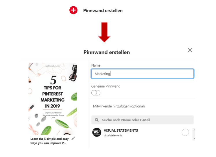 Screenshot: So erstellst du eine Pinnwand bei Pinterest für Unternehmen