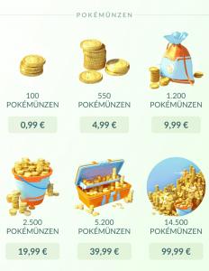 In App Käufe bei Pokemon Go