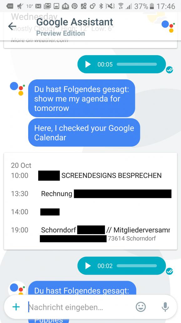 Google nennt mir meine Termine und To Dos
