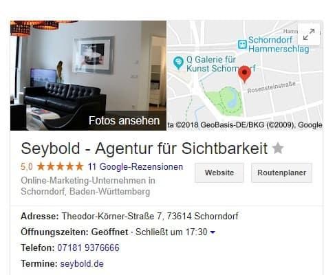 Google Maps, Beispiel Seybold - Agentur für Sichtbarkeit