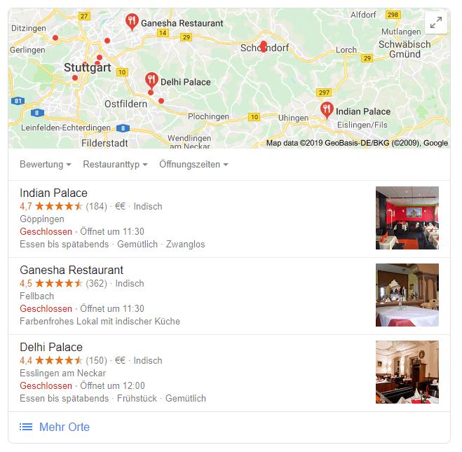 Suche: indische Restaurants