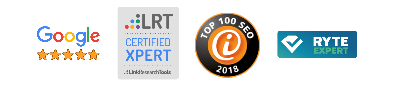 SEYBOLD ist mit 5 Sternen bewertet, LRT certified Xpert, TOP 100 SEO 2018, Ryte Expert