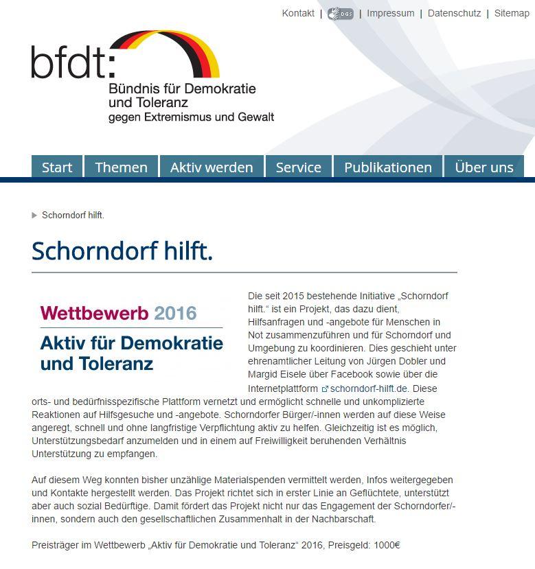 Bündnis für Demokratie und Toleranz gegen Extremismus und Gewalt - Schorndorf hilft - Preisträger 2016