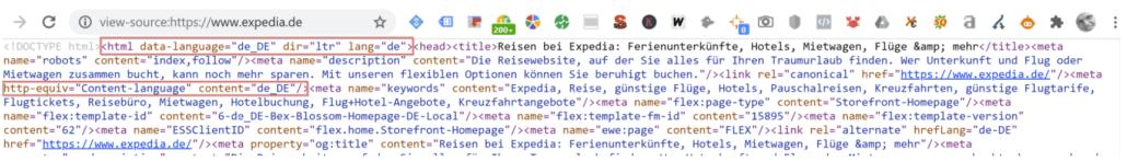 Content Language Tag implementieren auf Sprachseiten