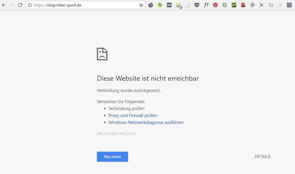 Ritter Sport Webshop ist down
