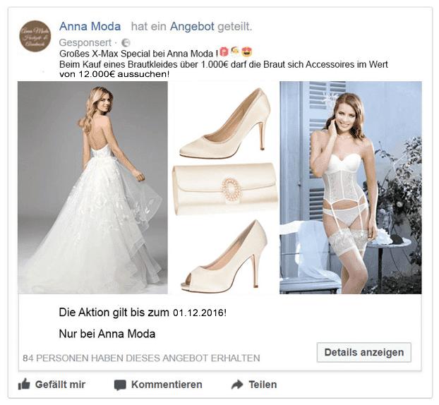 Beispiel Facebook-Werbung Brautmoden-Geschäft