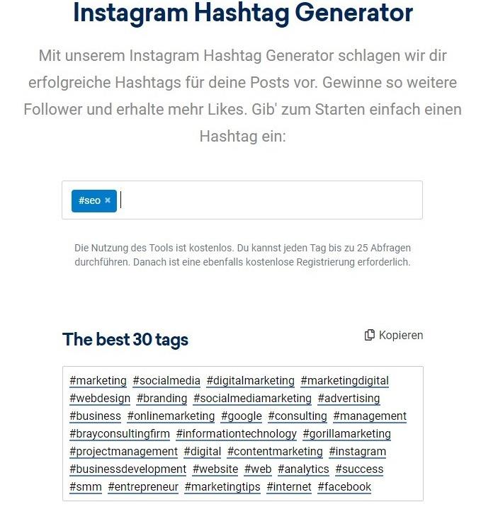 Hashtag Analyse mit dem Hashtag Generator von SISTRIX