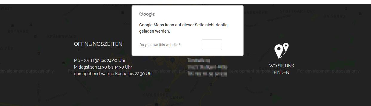 Google Maps kann nicht richtig geladen werden