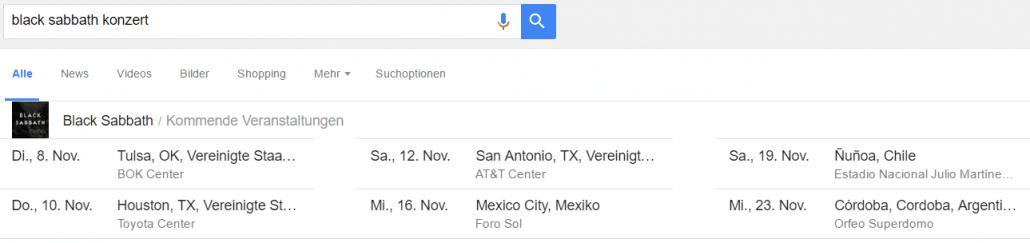 Konzerttermine in Google finden