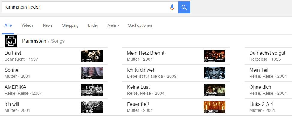 Lieder und Alben finden in Google