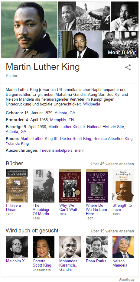 Martin Luther King in der Knowledge Box