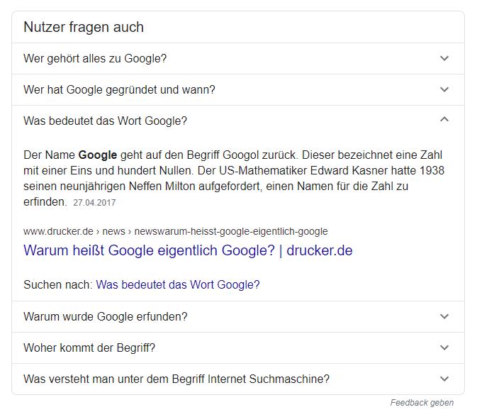 Fragen Snippets in der Google Suche