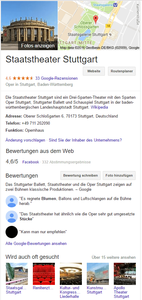 Die Oper in Google my Business