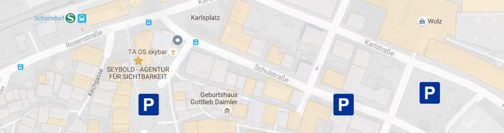 Parkmöglichkeiten: Hier parken Sie, wenn Sie zu SEYBOLD - Agentur für Sichtbarkeit wollen