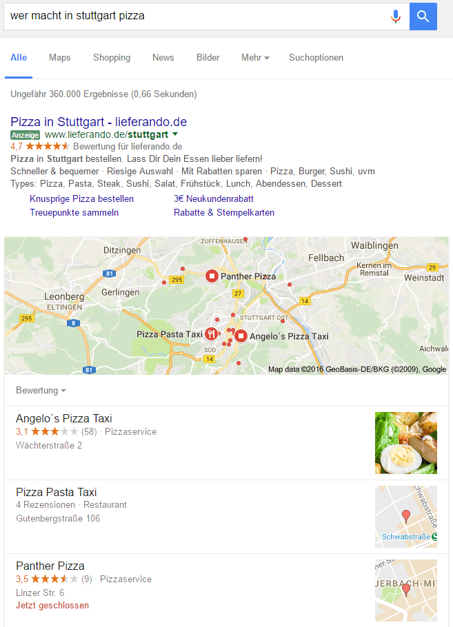 Über Google ine Pizza in Stuttgart bestellen