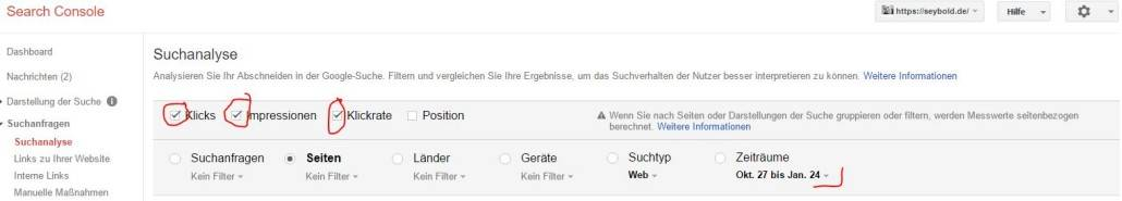 SearchConsole Suchanalyse nach schlechten Seiten starten