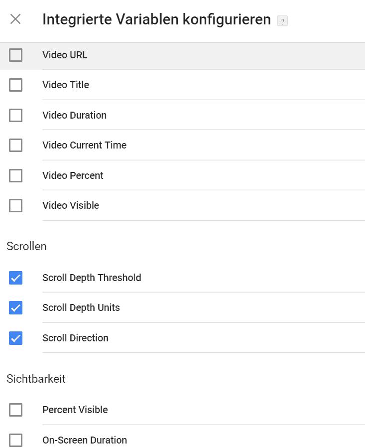 Google Tag Manager: Vorkonfigurierte Variablen anschalten