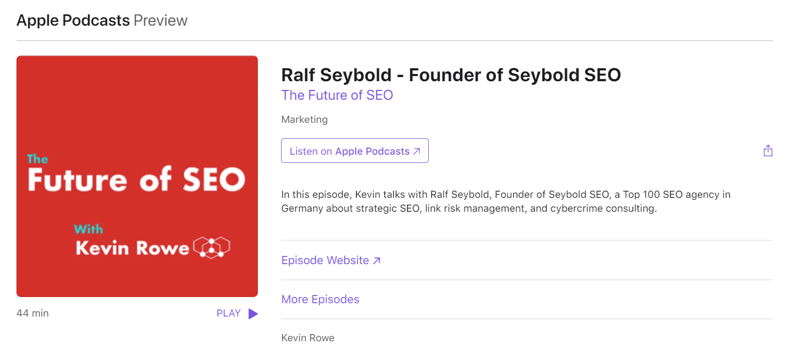 The Future of SEO Podcast über Links Spam