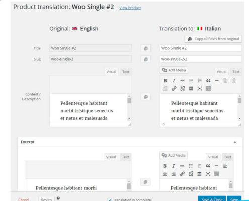 WooCommerce Produktübersetzung